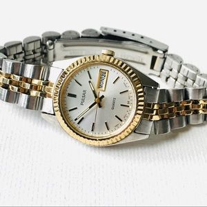 Seiko Pulsar Day/Date Women's Two Tone Watch